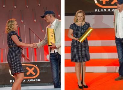 """Prestižinį apdovanojimą """"Labiausiai novatoriškas metų prekinis ženklas 2014″ Kiddy rinkodaros vadovei Sabine Schrenk įteikė ponas Dirk Hagen Zimmermann, Brand Vision agentūros bendradarbis."""